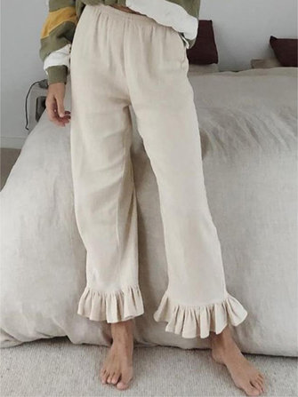 Solid Color Ruffled Casual Flare Pants