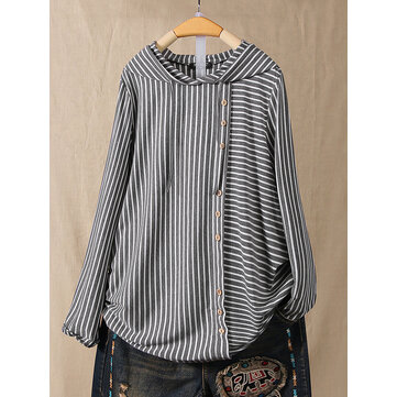 Casual Striped Side Button Hooded T-Shirts