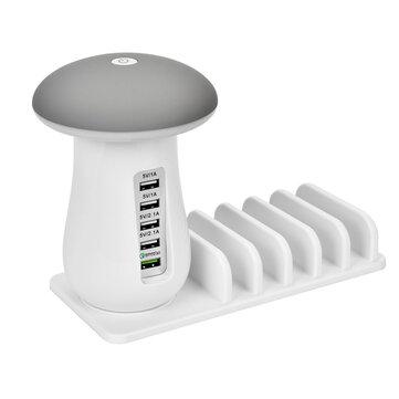 Bakeey QC3.0 Chargeur USB Multiport de Charge Rapide Champignon LED Support de charge de lampe de bureau pour iPhone XS 11 Pro Huawei P30 Pro Note10