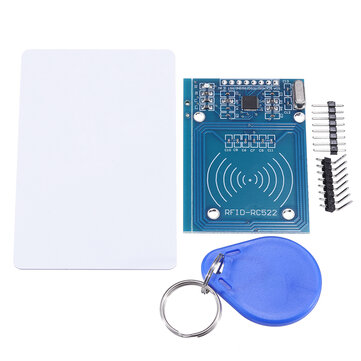 RFID-RC522 RF IC Card Reader Sensor Module with S50 Blank Card and Key Ring for  Raspberry Pi, 40pin Male to Female Jumper Wires RFID Tag