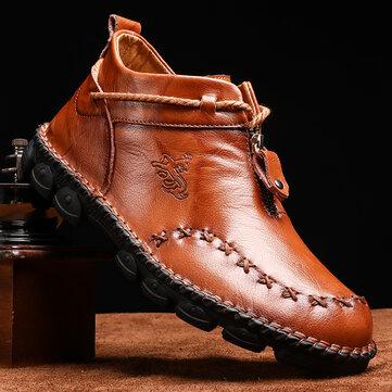 Menico Hombres Costura a mano Cuero resistente al desgaste Tamaño grande Soft Suela Casual Tobillo Botas