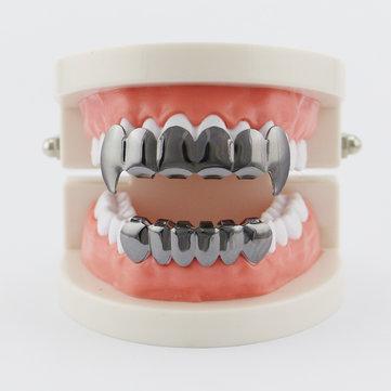 4 Colors Vintage Halloween Vampire Denture Kit Metal Geometric Glossy Braces Grillz Teeth Jewelry