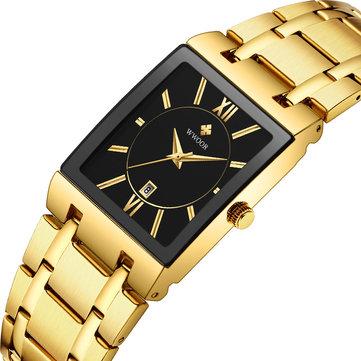 WWOOR 8858 Waterproof Full Steel Business Style Men Watch Date Display Quartz Watch