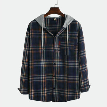 Men Plaid Casual Loose Cotton Long Sleeve Hooded Shirts