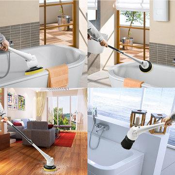 EVERTOP FD-EBC Multi-function Long Handle Bristles Hard Hair Cleaning Brush Bath Floor Brush Cleaning Machine Bathroom Tile Washer - White