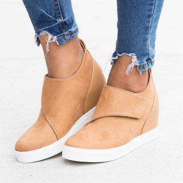 Large Size Women Hook Loop Hidden Heel Casual Loafers