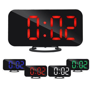 Digital LED Mirror Large Display Alarm Clock Snooze Function Dual USB Charger