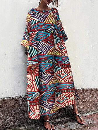 Women Loose Crew Neck Printed Vintage Long Maxi Dress