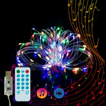 5M Music Voice-activated 50LED USB Fairy String Light Wedding Christmas Decor with 17Keys Remote Control