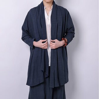 Buy Men's Long Chinese Style Cardigan Tops Coats with Litecoins with Free Shipping on Gipsybee.com