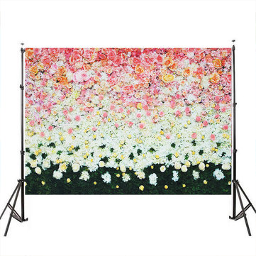 White Flower Green Photography Backdrops Photo Props Studio Background 5x7ft