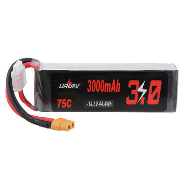 URUAV 14.8V 3000mAh 75C 4S Lipo Battery XT60 Plug for RC Racing Drone