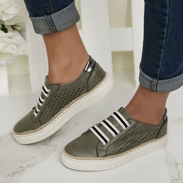Large Size Women Casual Hand Weave Hollow Out Breathable Loafers