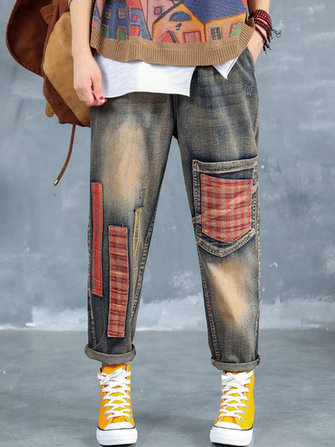Plaid Patchwork Elastic Waist Ripped Jeans For Women