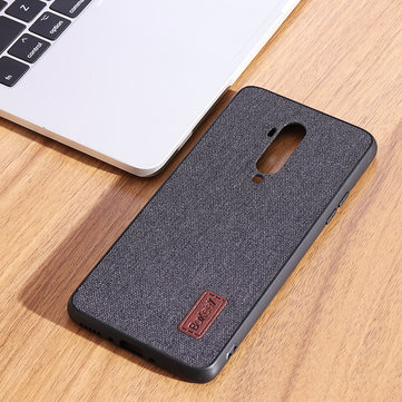 Buy Bakeey Luxury Fabric Splice Soft Silicone Edge Shockproof Protective Case For OnePlus 7T Pro with Litecoins with Free Shipping on Gipsybee.com