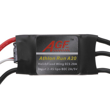 AGF Athlon Run A20 Mini 20A 2-4S Lipo Brushless ESC With 5V 2A BEC For RC Helicopter Airplane