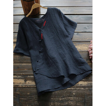 Camisetas de manga corta de algodón de color puro de estilo chino para mujer