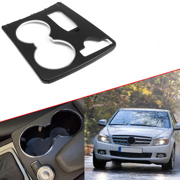 Black Console Car Cup Holder Trim Cover Fit For Mercedes C-Class W204 C300 2008 -2014