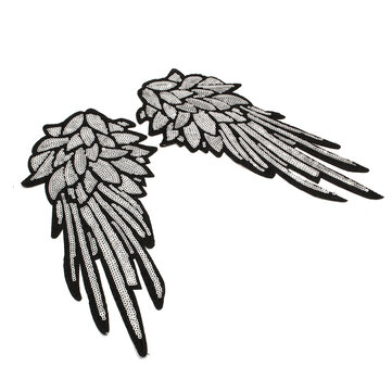 1 Pair Embroidered Iron On Patch for Clothes Large  Angel Applique Sequins HOT