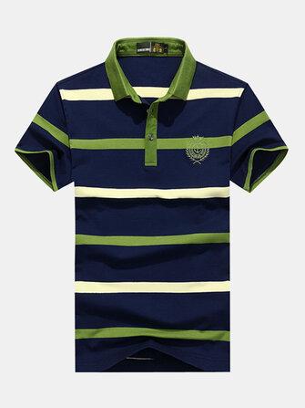 Cuello redondo estampado de rayas para hombre Golf Camisa Tops ocasionales de algodón ocasionales