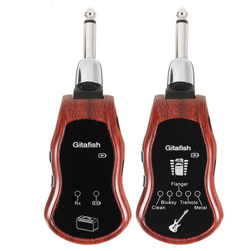 Gitafish K380C Portable UHF Wireless Guitar Synthesize Effector 10 Variable Channels Built-in Amplifier Transmitter Receiver Electric Guitar Bass