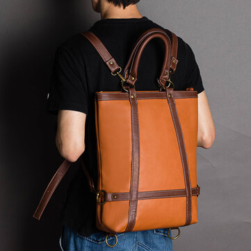 Men Women Large Capacity Multifunctional Faux Leather Fashion Business Bag Backpack Handbag