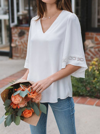 Casual V-neck Solid Color Lace Patch Bell Sleeve Blouse