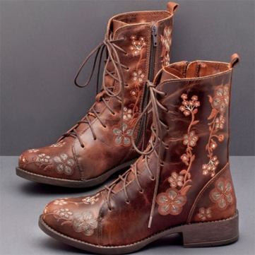 Lostisy Women Retro Flower Printing Lace Up Square Heel Mid Calf Boots