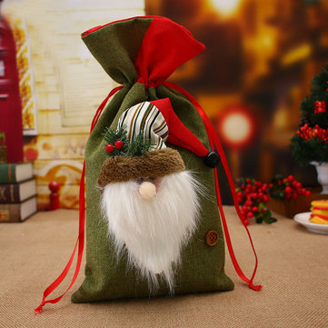 Loskii Christmas Cotton Linen Storage Package Bag Drawstring Bag Travel Women Small Cloth Bag Christmas Gift Pouch