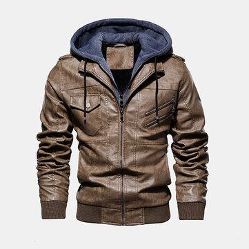 Mens Fashion PU Hooded Zipper Pocket Jacket Warm Thickened Leather Coats