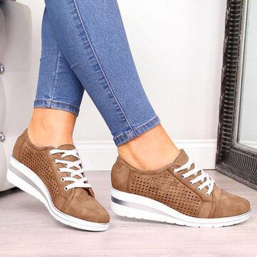 Large Size Women Casual Solid Color Round Toe Lace Up Wedges Loafers