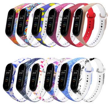 דפוס צבעוני רצועת שעון רצועת שעון רצועת סיליקון ל- Xiaomi Miband 4 Miband 3