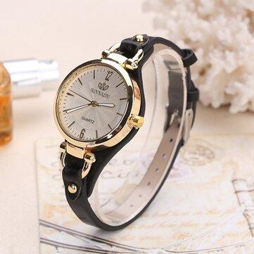 Deffrun Casual Style Colorful Emas Case Ladies Wrist Watch PU Leather Quartz Watches