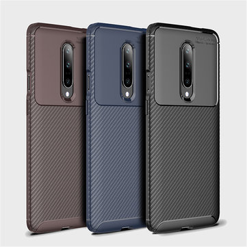 For OnePlus 7 Pro Case Bakeey Luxury Carbon Fiber Shockproof Anti-fingerprint Silicone Protective Case