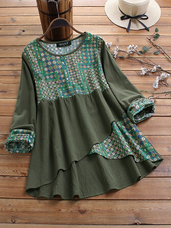 Ethnic Print Patchwork Long Sleeve High Low Vintage Blouse