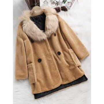 Plus Size Women Winter Fur Collar Fleece Cotton Coats