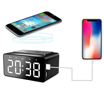 AEC BT508 Wireless Bluetooth Speaker Wireless Charger USB Charging for Phone Portable Double Alarm Clock FM Radio Subwoofer Three-range Brightness Adjustment