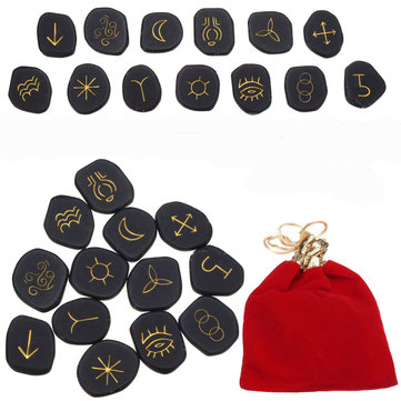 Buy 13pcs Black Jasper Runes Gemstone Power Stones Rune Set Symbols Healing Crystals with Litecoins with Free Shipping on Gipsybee.com
