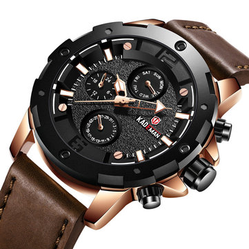 KADEMAN 809 Casual Men Watch 3ATM Waterproof Date Week Display Leather Strap Quartz Watch