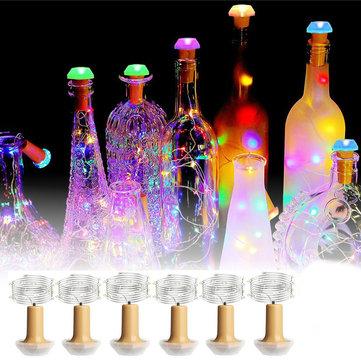 1PCS 6PCS Solar Powered Bottle Copper Cork Wire LED Fairy String Light Party Christmas Lamp