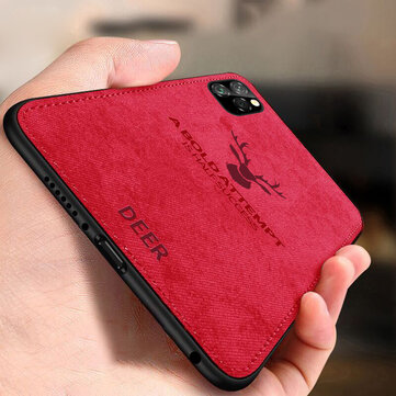 BAKEEY Deer Canvas Cloth Shockproof Protective Case for iPhone 11 Pro Max 6,5 inch