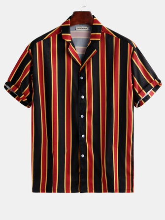 Mens Contrast Color Stripe Printed Short Sleeve Summer Holiday Shirts
