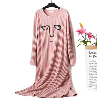 Cartoon Emoticon Print Cotton Leisure Short Sleeve Nightgown