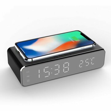 Electric LED 12_24H Alarm Clock With Phone Wireless Charger Table Digital Thermometer Display Desktop Clock