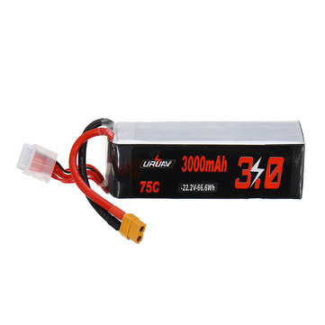 URUAV 22.2V 3000mAh 75C 6S Lipo Battery XT60 Plug for RC Racing Drone