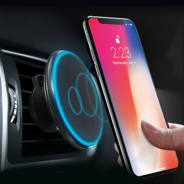 Qi Wireless Car Charger Magnetic Mount Holder for iPhone Huawei P30/Mate 20 Pro