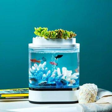 Geometry Mini Fish Tank USB Charging Self-Cleaning Aquarium with 7 Colors LED Light For Home Decorations From Xiaomi Youpin