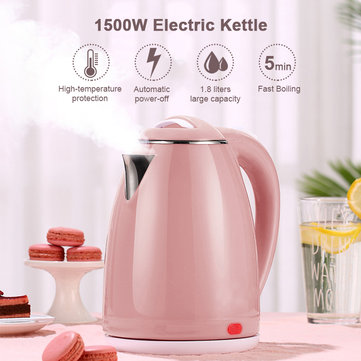 1500W Electric Kettle Water Heater Boiler, Stainless Steel Cordless Tea Kettle 1.8 Liter with Fast Boil, Auto Shut-Off and Boil Dry Protection-EU Plug