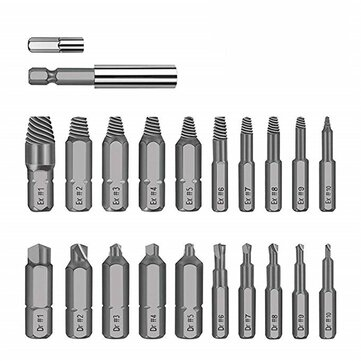 Drillpro 22pcs Damaged Screw Extractor Set Broken Screw HSS Broken Bolt Extractor Screw Remover Kits
