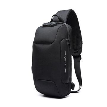 OZUKO Taška na hrudník USB Externí nabíjení Anti-Theft Crossbody Bag Vodotěsná taška přes rameno pro cestovní cestování
